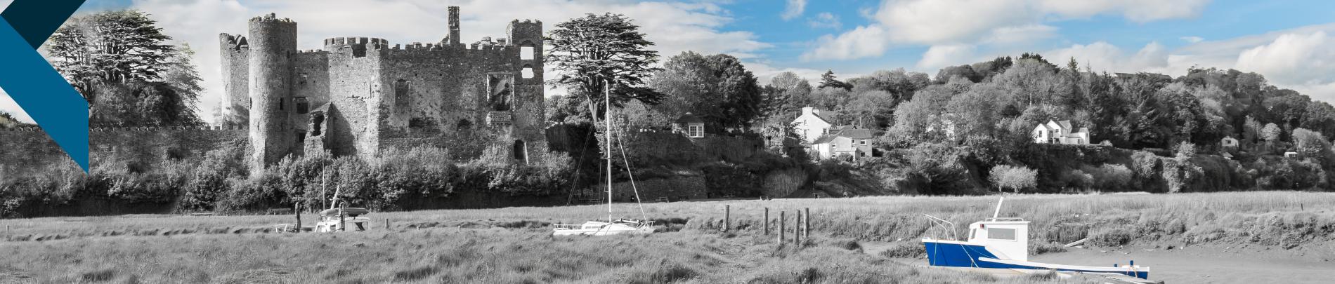 Laugharne castle and estuary