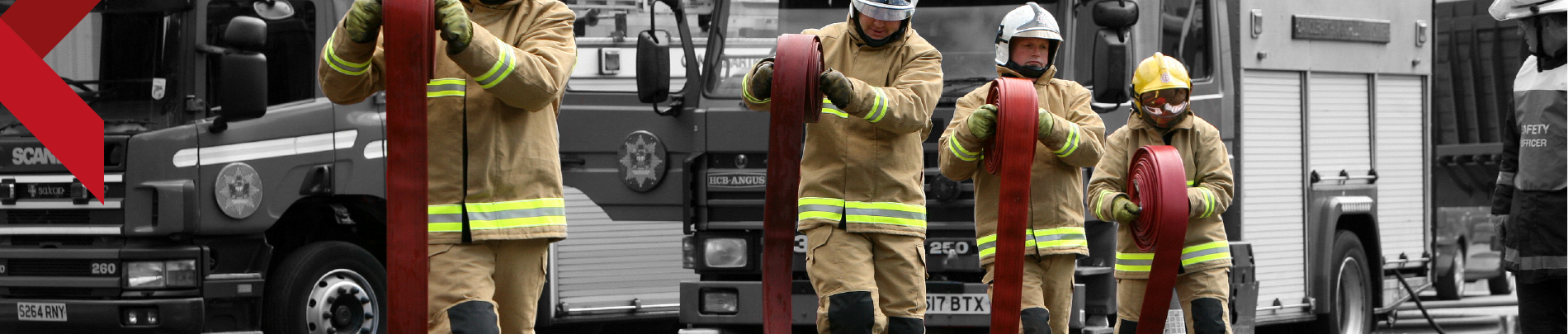 Firefighters taking part in a training excercise