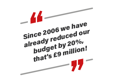 Since 2006 we have already reduced our budget by 20%, that's £9 million!